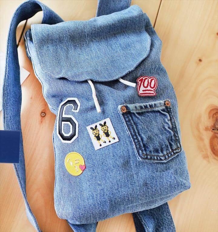 diy packpack, old jeans bag