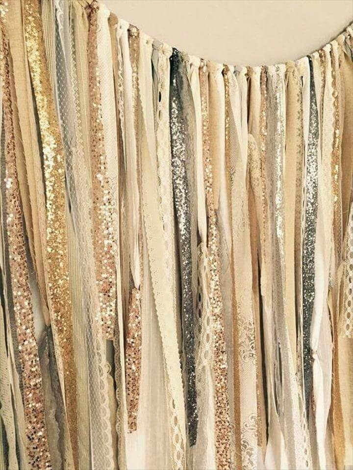 Gold, Silver, Champagne, Rose Gold, Sequin & Lace Ribbon Sparkle Curtain,. Diy Wedding ...