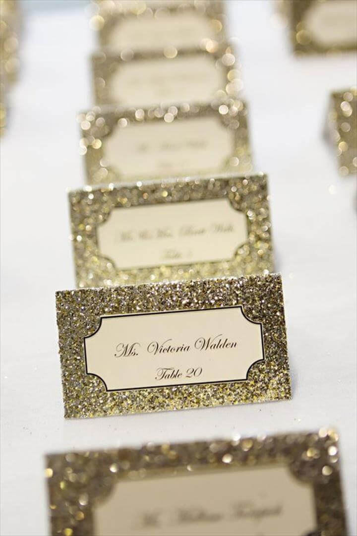 Find this Pin and more on Wedding Details. Glittery place cards add ...