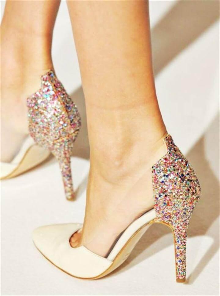 glittery back heels