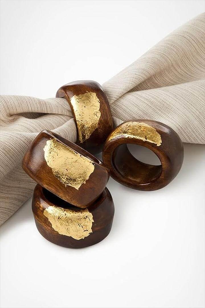 Gold Leaf Wooden Napkin Rings.