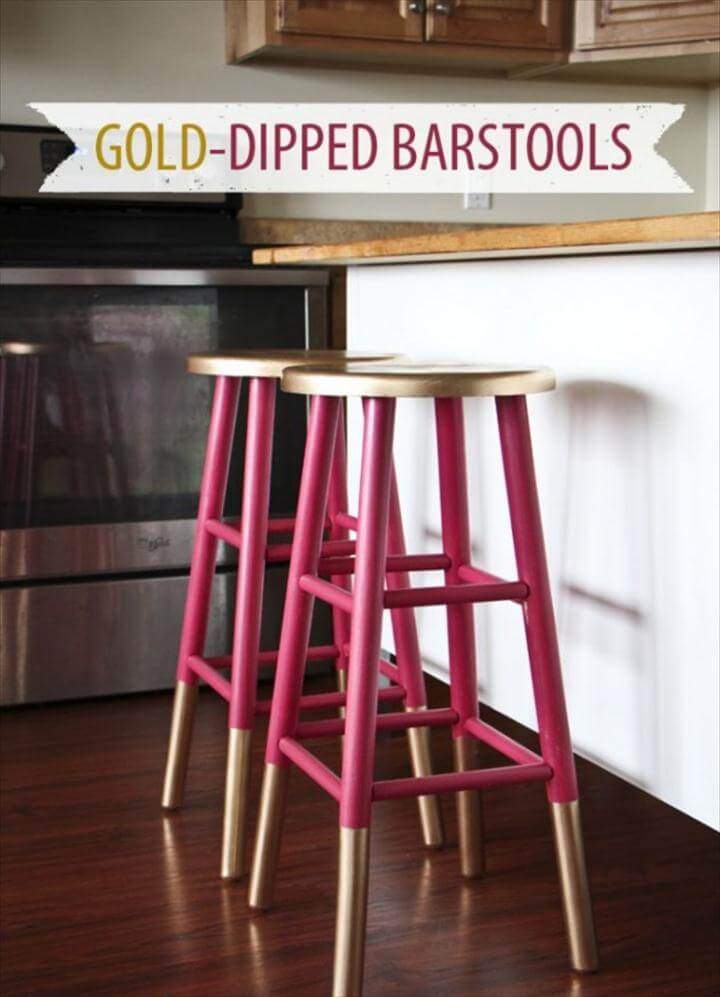 Gold Accents Barstools, diy gold paint stools