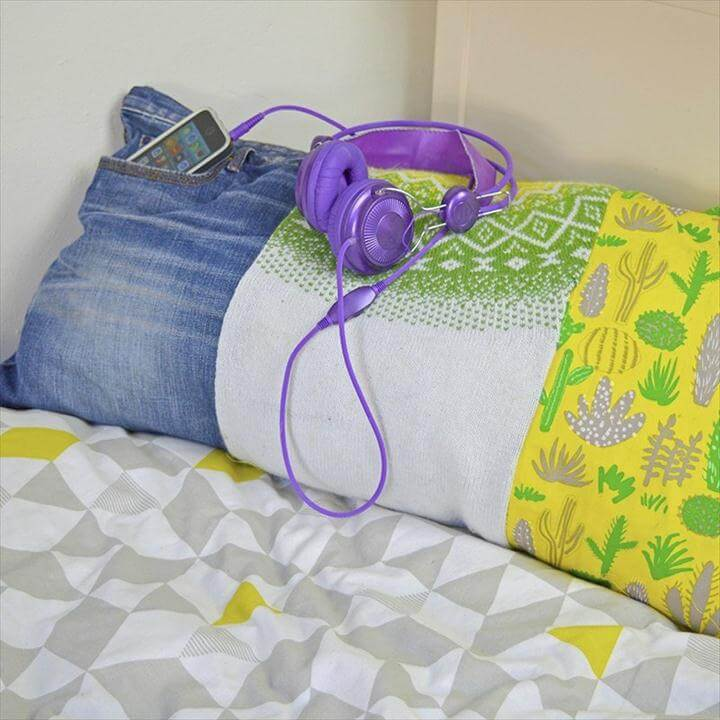 Scrappy Pillow From Old Clothing