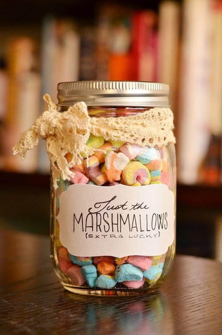 Lucky Charms Marshmallows in a Jar, gorgeous Christmas mason jar gifts