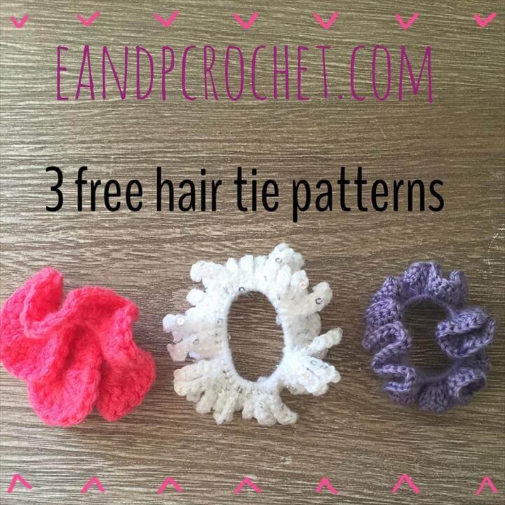 crochet ties, hair ties, three different haiir ties