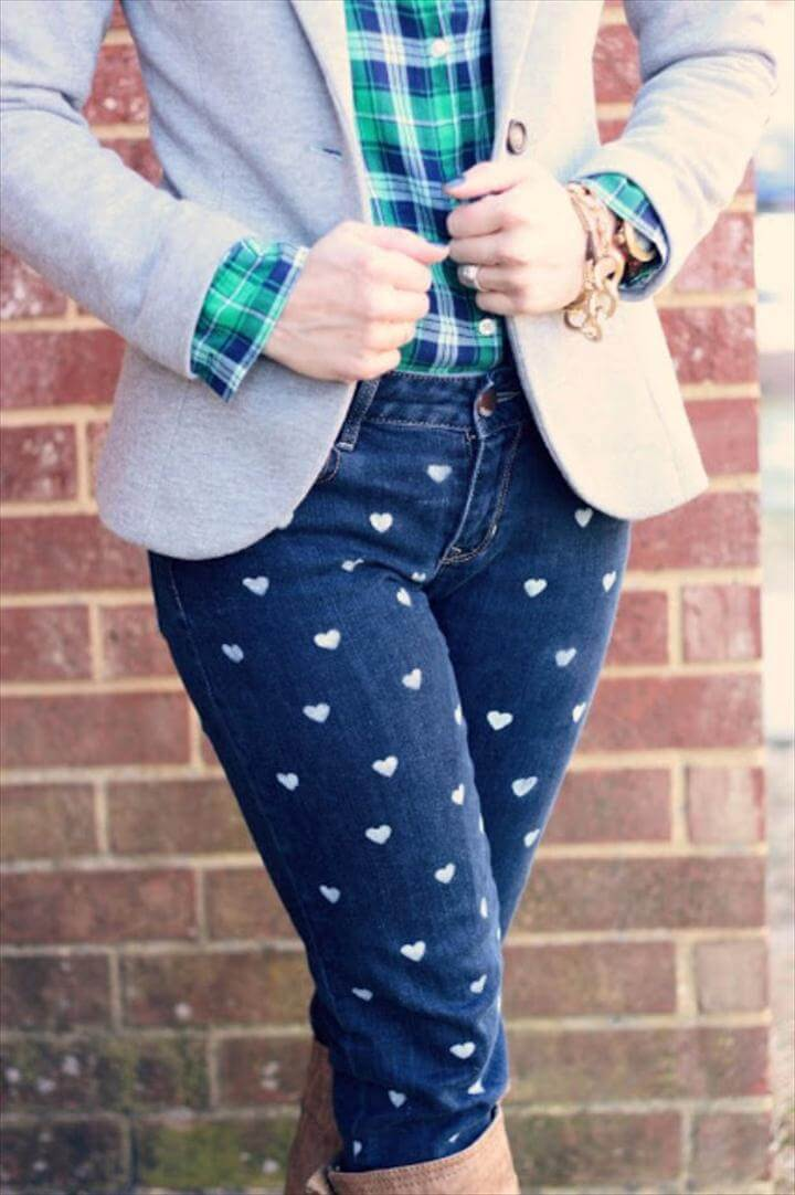 DIY Heart Patterned Jeans
