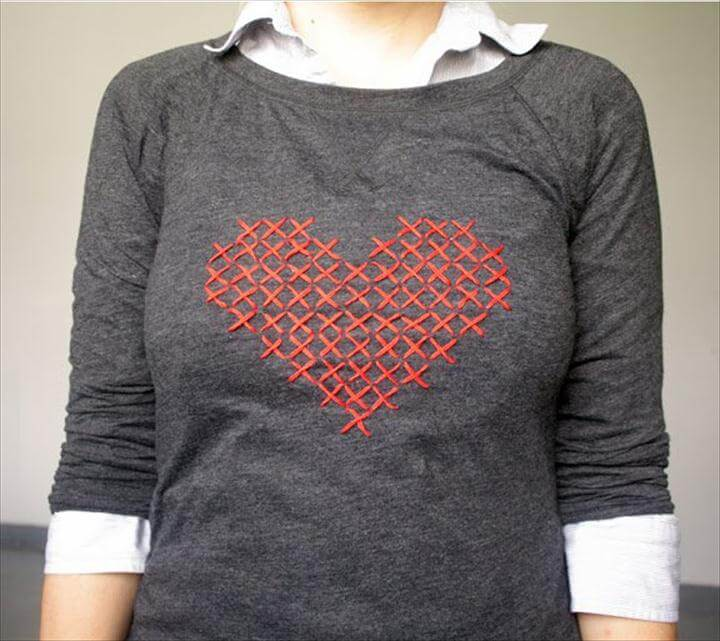 Grey Sweatershirt with Heart Print