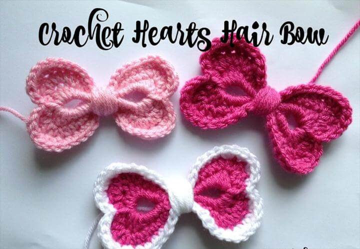 Crochet Hearts Hair Bow