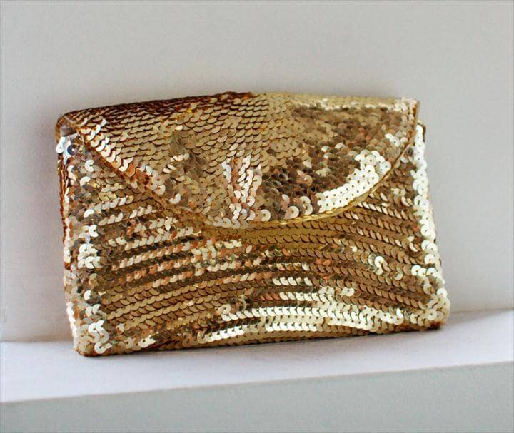 diy handbag, diy sequin clutch