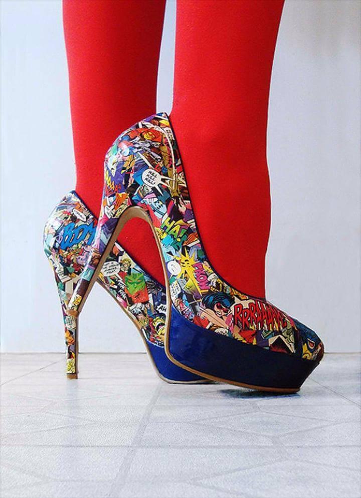 DIY Shoe Makeovers - Killer DIY Comic Strip High Heels - Cool Ways to Update,