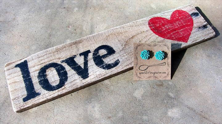 Love wood sign and teal earrings