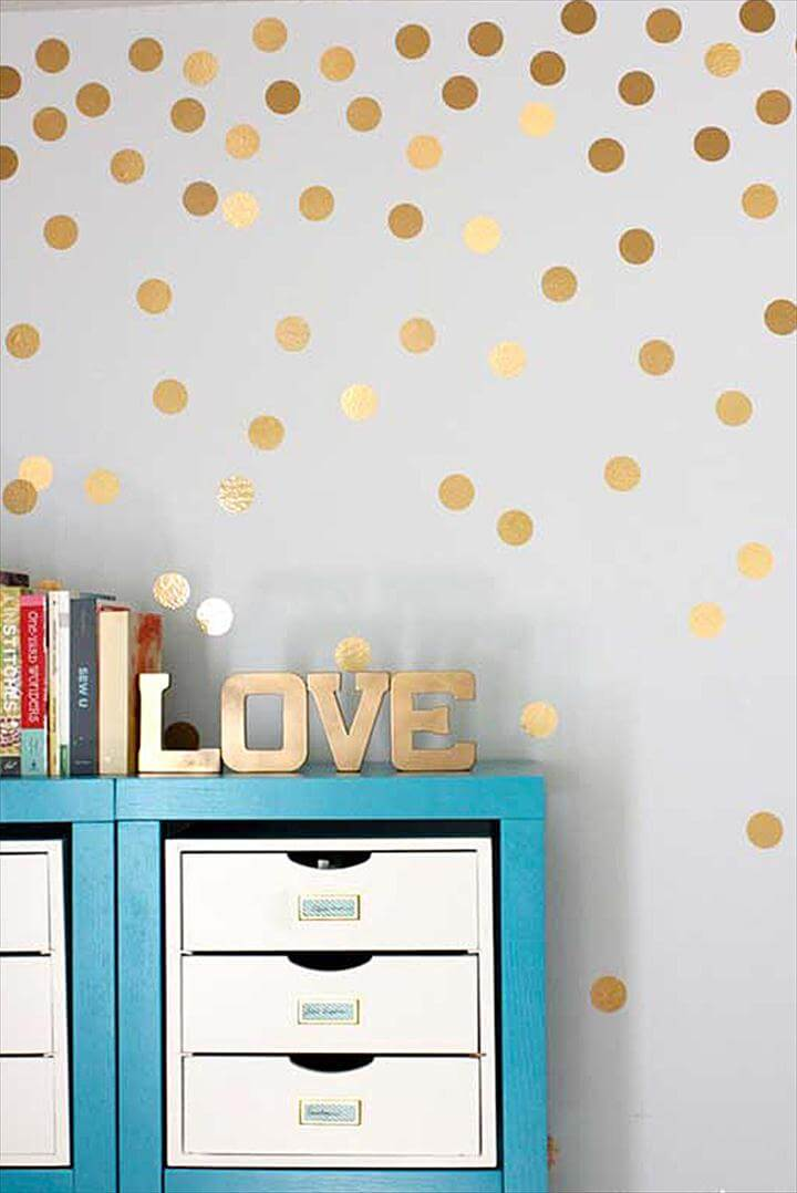 Metallic Gold Polka Dots Wall Art