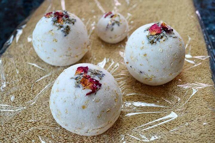 Rose, Lavender, and Oatmeal Bath Bombs - fragrant,