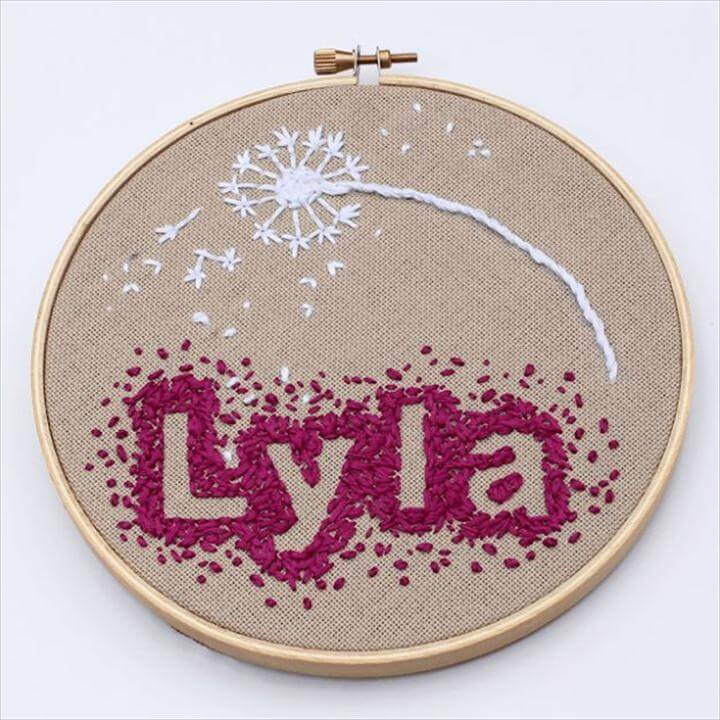 Free Embroidery Patterns - Negative Space Baby Name Embroidery - Best Embroidery