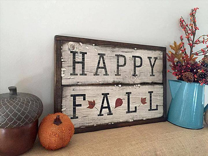 Fall - Wooden Sign - Happy Fall - Framed - Pallet wood - Rustic - Fall Decor - Autumn -