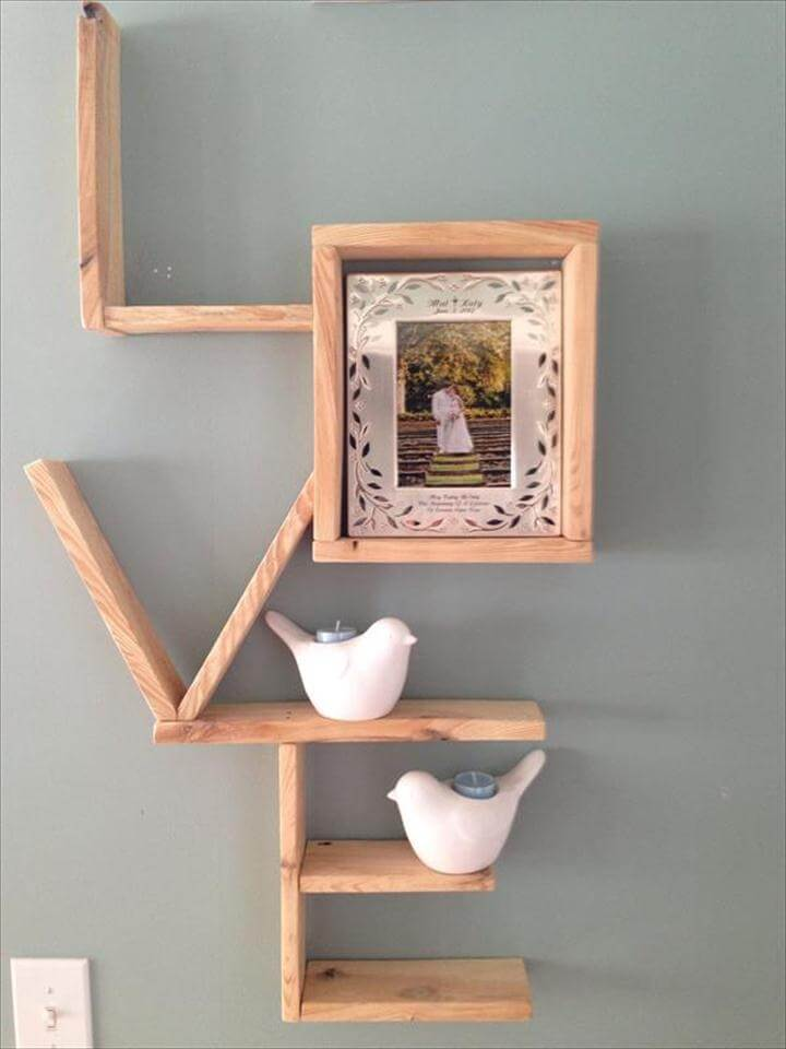 love sign and shelves