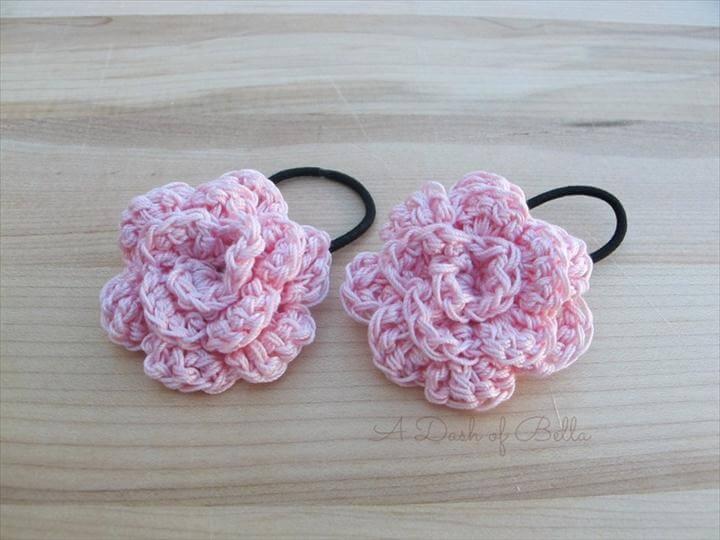 Pink Crochet Flower Pony Tail Holders/Hair Elastics