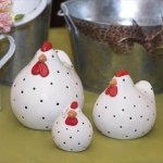 Decorative elements, like these cute polka-dot ceramic chickens, add a casual simplicity