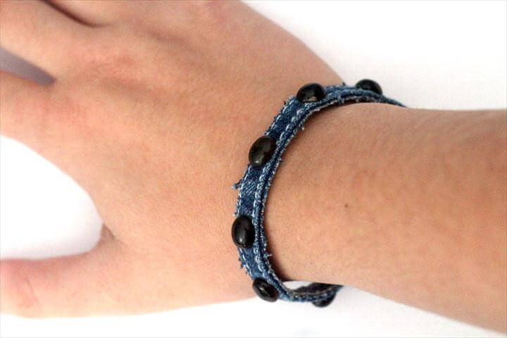 simple no sew DIY denim bracelet