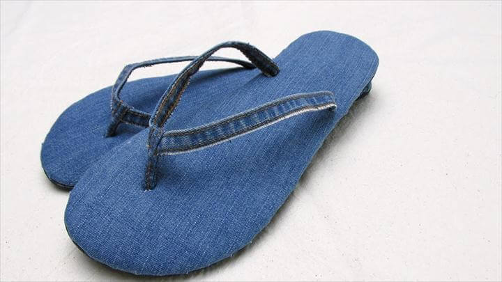 upcycle old jeans into new flip flops