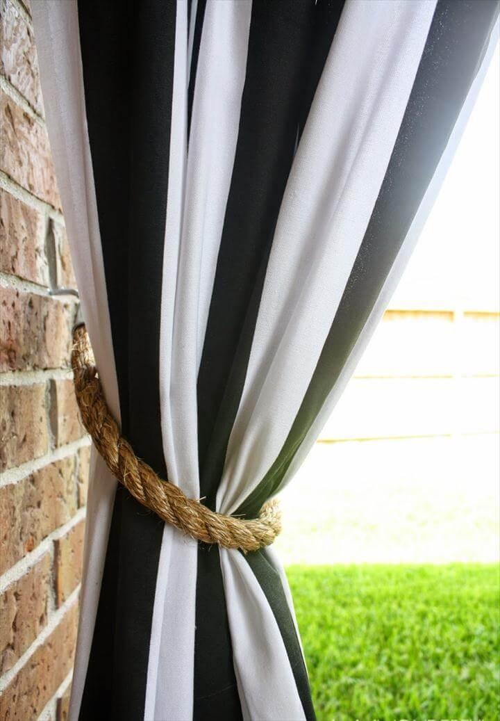 patio curtains + DIY rope tieback