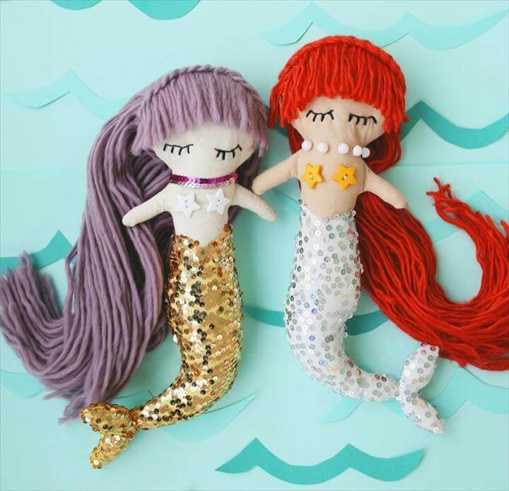 sequin-tailed mermaid dolls