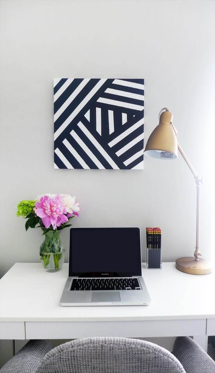 Easy Striped Wall Art, striped black white art diy