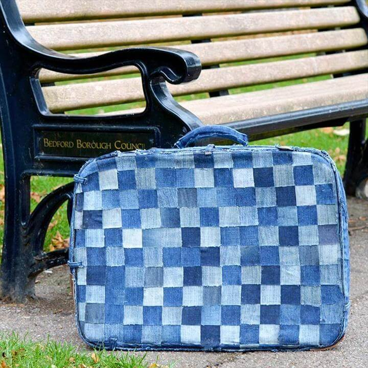 Cover An Old Busted Suitcase In Jean Squares