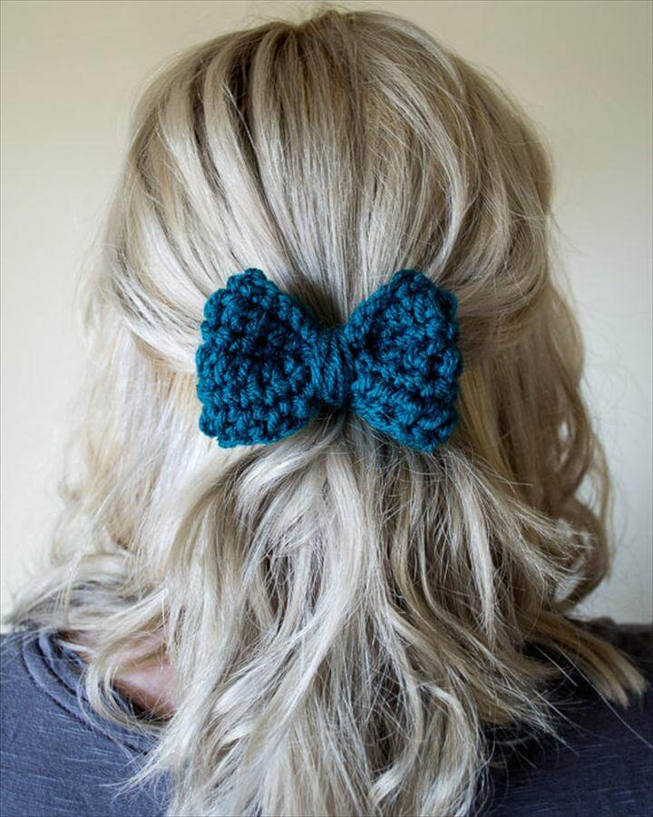 Teen Hair Bow, Hair Bow For Girls, Crochet Hair Bow, Crochet Hair Clip, Pack of Three Hair Bows, Teal Hair Bow, Blue Hair Bow for Girls