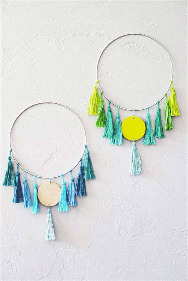 DIY Wall Art Ideas for Teen Rooms - DIY Tassel Wall Hanging - Cheap and Easy