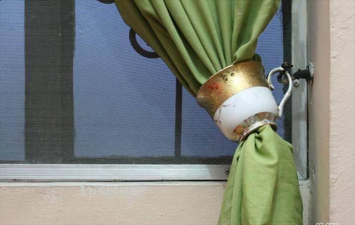 Teacups As Curtain Tiebacks