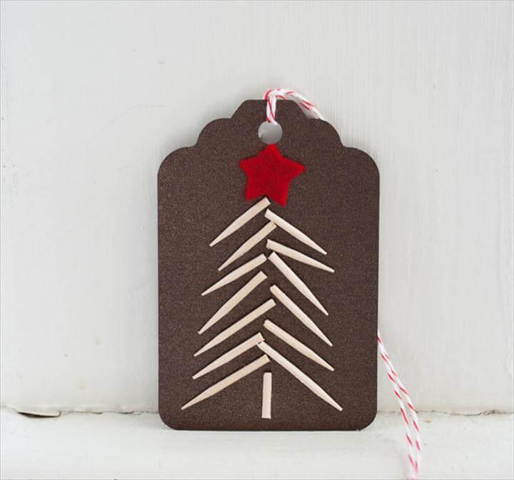 diy gift tag, tree style gift tag