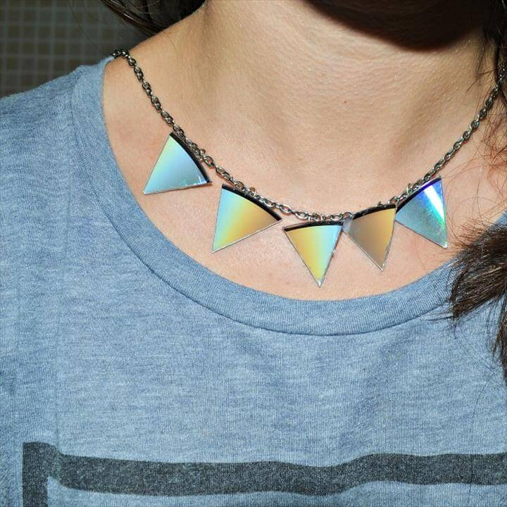 Accessories From Old CD's, Triangle Statement Necklace