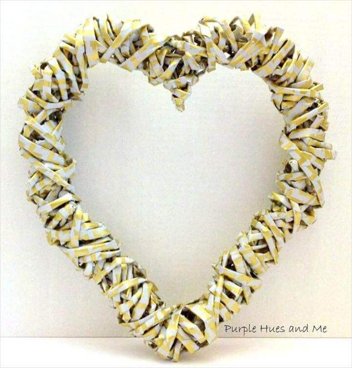 DIY A Non-Traditional Valentine - Make a Gift-Wrapping Paper Heart, diy a non traditional valentine make a gift wrapping paper heart, crafts, seasonal holiday,Weave wrapping paper into a metallic wreath