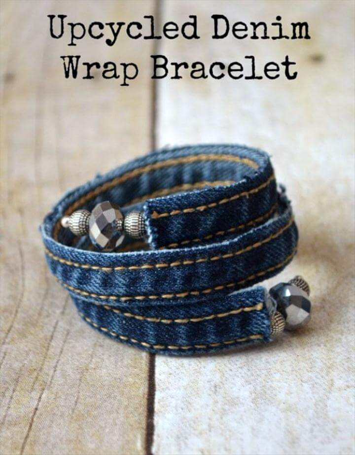 DIY Crafts with Old Denim Jeans - Upcycled Denim Wrap Bracelet - Cool Projects and Fashion