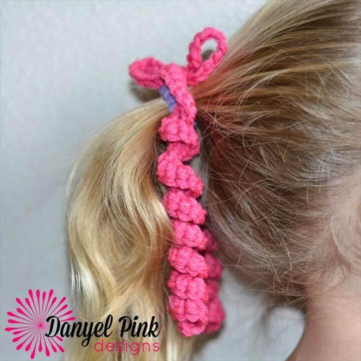simple hair tie, crochet hair tie