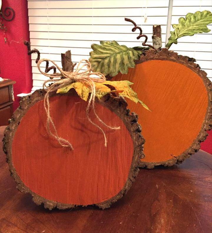 Painted Wood Slice Pumpkins. Log Wood Projects Wood ...