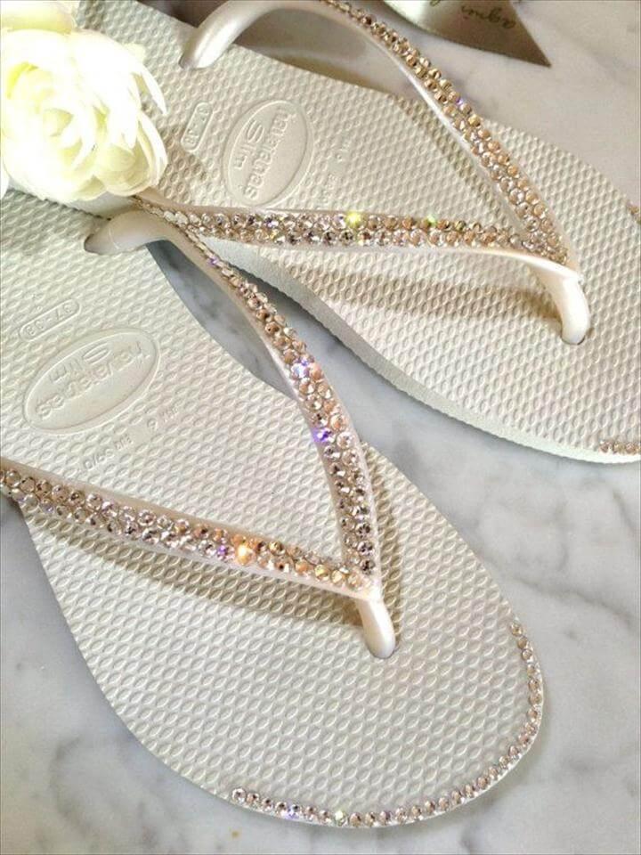 Crystal Tip Wedding Flip Flops