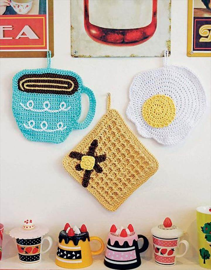 breakfast crochet dishcloths