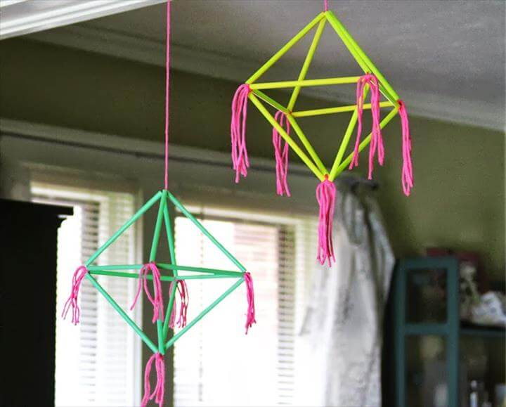 diy geometric straw mobile by marilyn brewed together