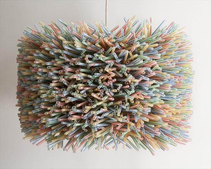 Large Colorful Drum Shade from Plastic Drinking Straws