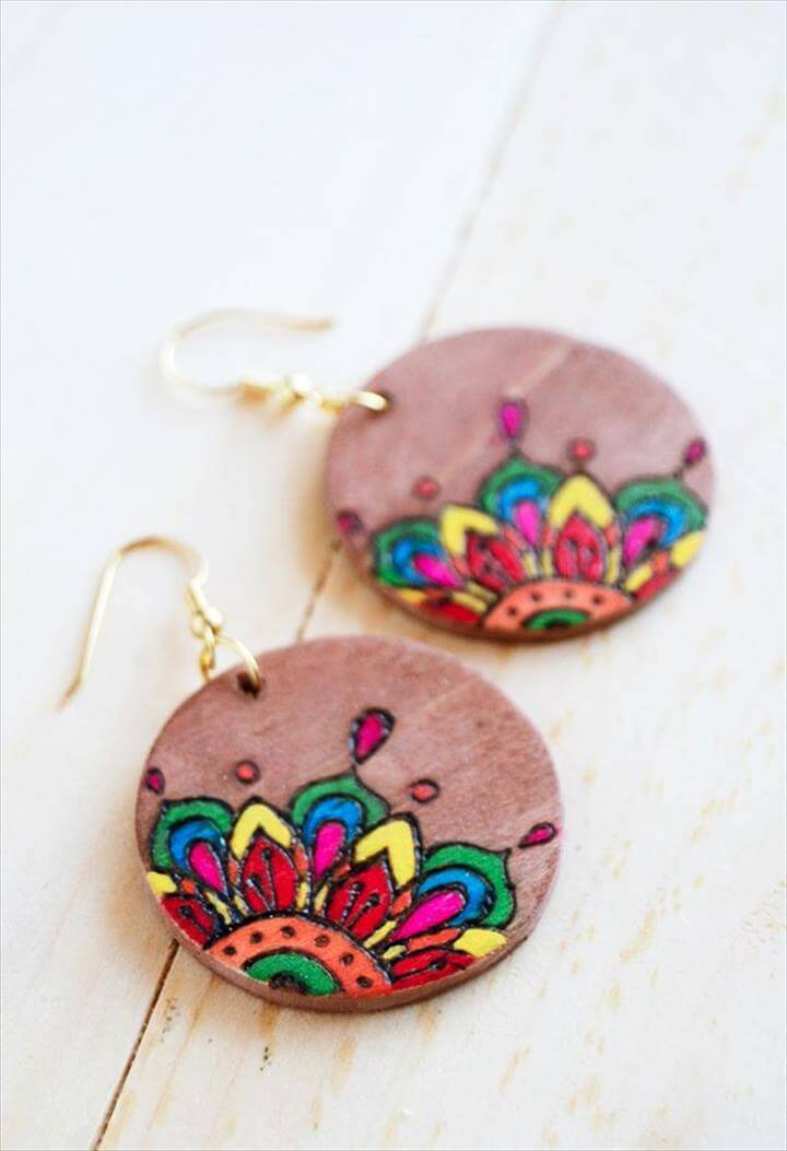 DIY: Coloring Book-Style Woodburned Earrings