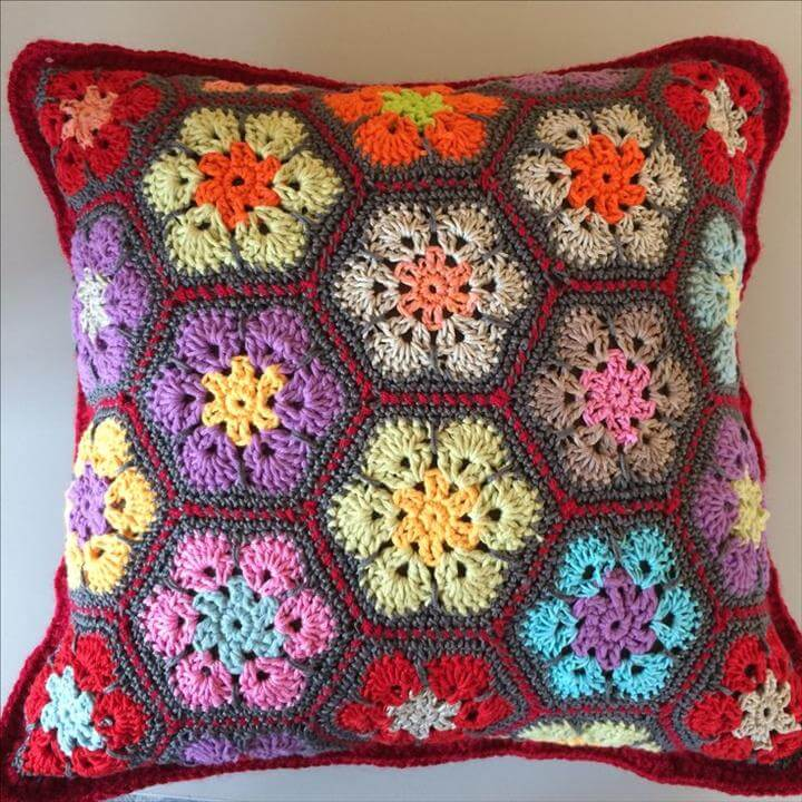 Color Bomb Flower Pillow, Crochet african flower pillow/