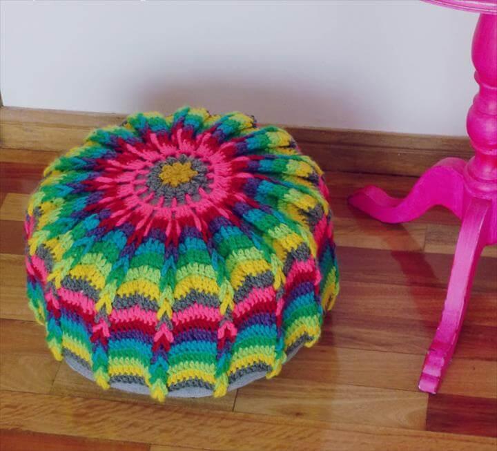 Ottoman Crochet Pattern Mandala PDF - floor pillow or crochet hoop wall art photo tutorial -