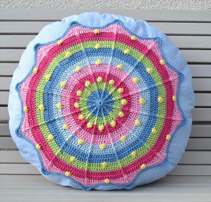 Round Pillow Sansara - Crochet pattern + sewing instructions, PDF photo tutorial