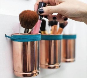 DIY: leather + copper cup organizer