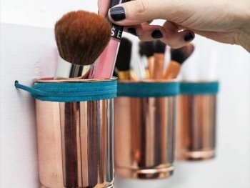 DIY: leather + copper cup organizer