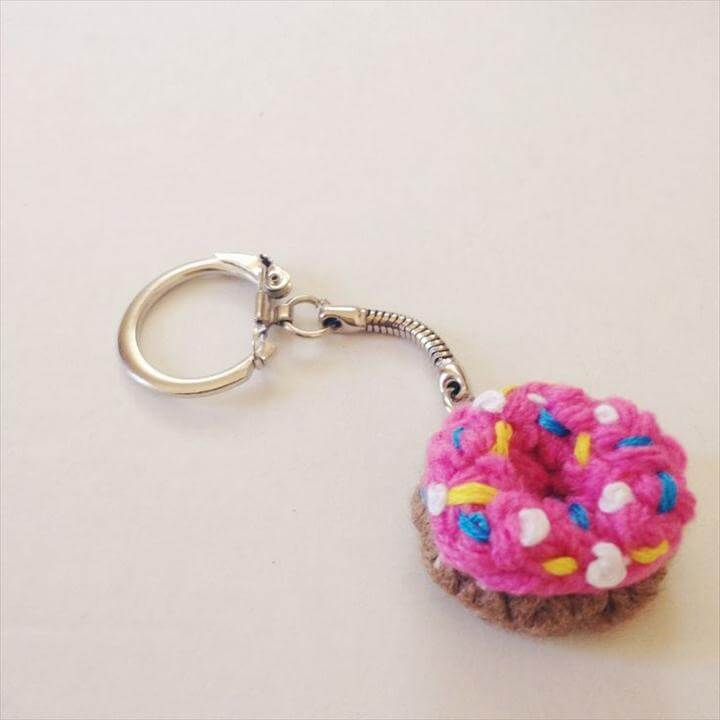 Mini Crochet Donut KeyChain DIY Free Pattern and Tutorial