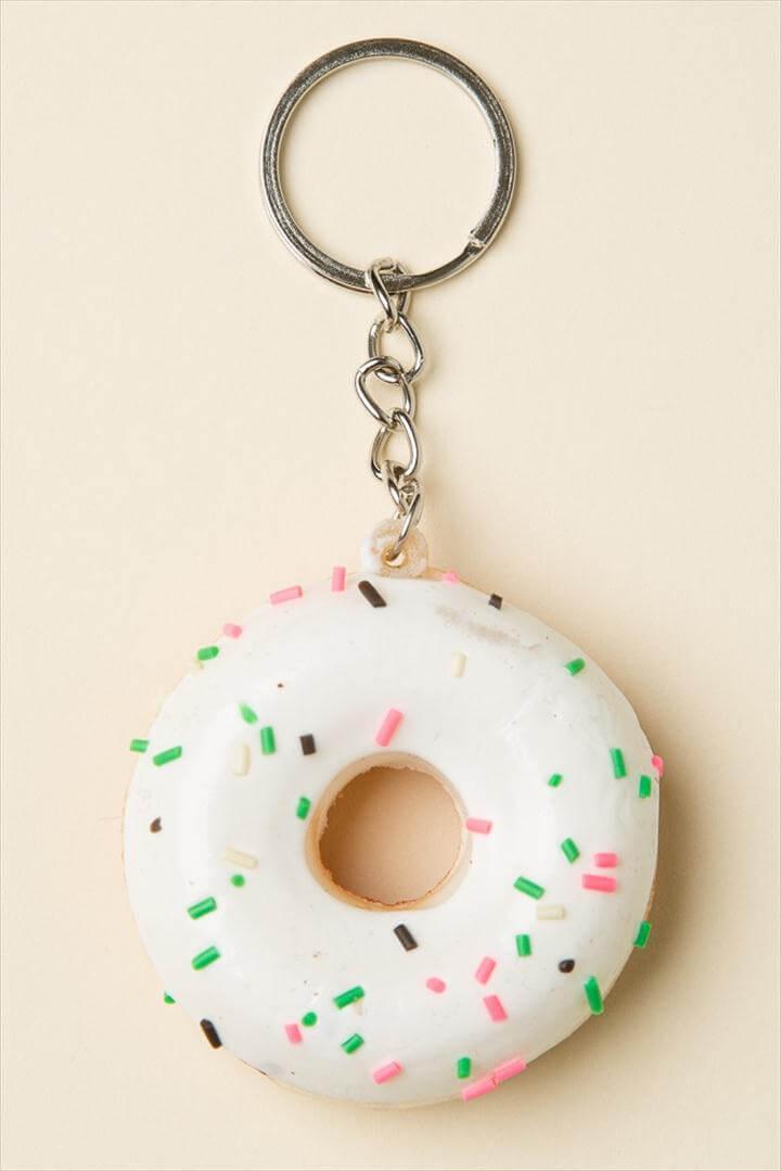 Sprinkle Donut Keychain, Donut Keychain