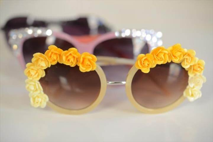 Easy Summer DIY, Flower Sunglasses, Fun Craft Projects, Awesome DIY Embellished Sunglasses
